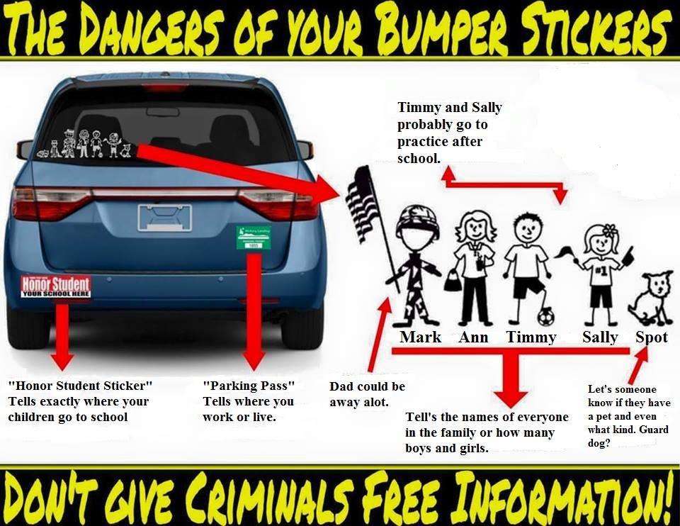 Bumper stickers consider what you put on your vehicle tells criminals about you and your family